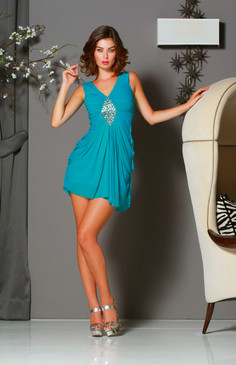 Teal V neck pleated cocktail dress with rhinestone embellished waist