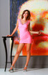 Pink Cosmo lady v neck lace layover embossed cocktail dress