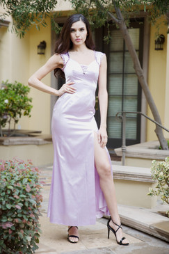 Pink Satin beaded Slit sheath Gown