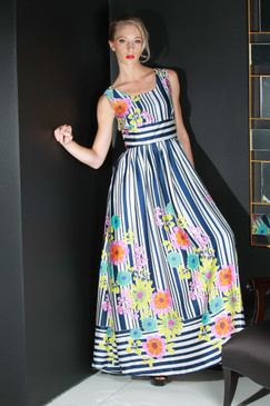 "Atina Luxe ""Stripes and flowers"" Maxi Dress, Ropa De Playa"