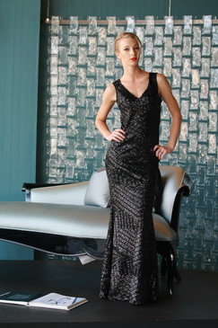 Atina Collection  Gatsby Black Sequins Art Deco Evening Dress