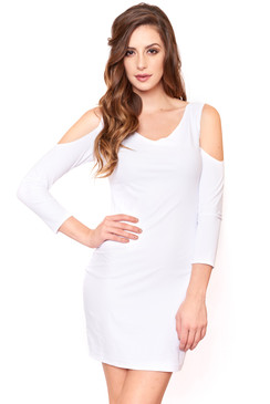 White cutout shoulder cocktail dress