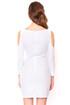 White cutout shoulder cocktail dress
