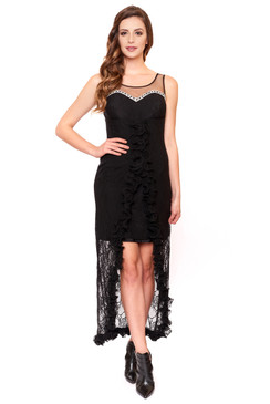 Cosmopolitan Belle black lace High Low Dress