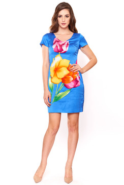 Blue Silk Blooming Floral print Dress