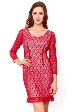 Red Long Sleeve Lace Cocktail Dress