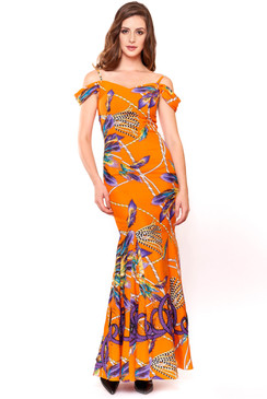 "Orange sequins embellished ""Mandarin Belle"" gown"