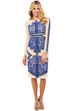 Yvette Long Sleeved Below Knee Dress with blue lace applique