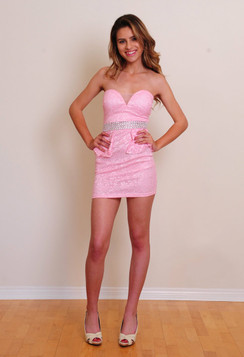 Pink sweetheart peplum cocktail dress