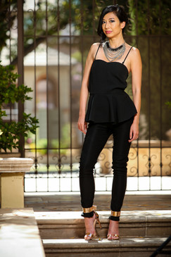 Girl Boss Black Peplum waist Jumpsuit