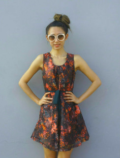 Dark Brown sleeveless floral belted Sundress
