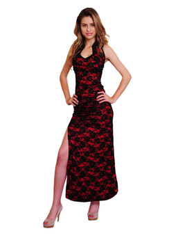 Atina Collection Chinese Black Lace Qipao on Burgundy