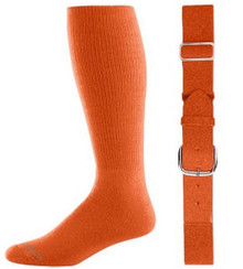 Orange Baseball Socks & Belt Combo (1 Pair of Socks & 1 Belt)