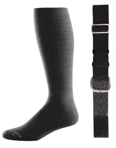 Black Baseball Socks & Belt Combo (1 Pair of Socks & 1 Belt)