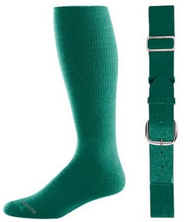 Dark Green Baseball Socks & Belt Combo (1 Pair of Socks & 1 Belt)