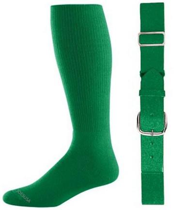 Kelly Green Baseball Socks & Belt Combo (1 Pair of Socks & 1 Belt)