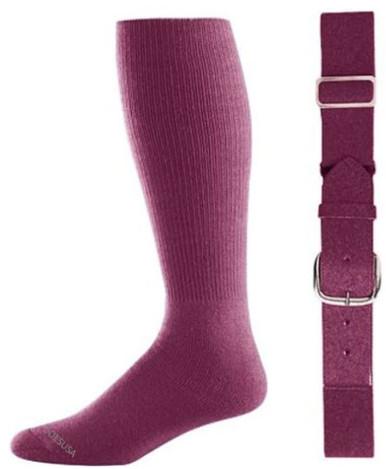 Maroon Baseball Socks & Belt Combo (1 Pair of Socks & 1 Belt)