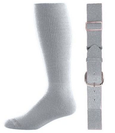 Silver Grey Baseball Socks & Belt Combo (1 Pair of Socks & 1 Belt)