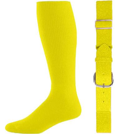 Bright Yellow Baseball Socks & Belt Combo (1 Pair of Socks & 1 Belt)