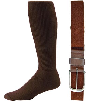 Brown Baseball Socks & Belt Combo (1 Pair of Socks & 1 Belt)
