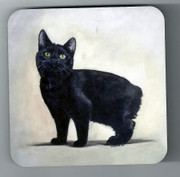 Manx Cat Coaster with image by Simone Forster.