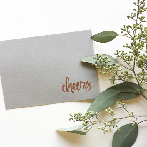 Hand lettered cheers rubber by Paper Sushi