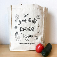Gimme All The Fruits and Veggies (and quite a bit of the wine) Tote Bag by Paper Sushi