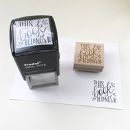 Hand lettered This Book Belongs To bookplate rubber stamp by Paper Sushi