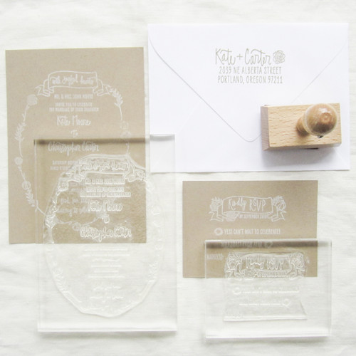 Example of clear stamps with acrylic mounts