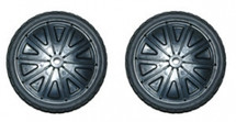 """Rubbermaid replacement  10""""wheel set 2 wheels & 2 Retainer caps that fit the 9W21. Brute roll out container."""