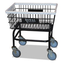 Royal Small Wire Laundry Cart, 21 x 26 x 26 1/2, 200 lbs. Capacity, Black