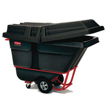 Rubbermaid Commercial Rotomolded Tilt Truck, Rectangular, Plastic, 1900-lb Cap., Black