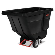 Rubbermaid Commercial Rotomolded Tilt Truck, Rectangular, Plastic, 450-lb Cap., Black