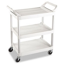 rubbermaid owh commercial 3shelf service cart offwhite