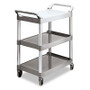 Rubbermaid Commercial Economy Plastic Cart, 3-Shelf, 18-5/8w x 33-5/8d x 37-3/4h, Platinum