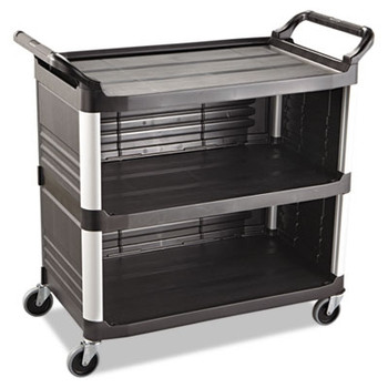 Rubbermaid Commercial Xtra Utility Cart, 300-lb Cap., 3 Shelves, 20w x 40 5/8d x 37 4/5h, Black
