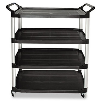 Rubbermaid Commercial Open Sided Utility Cart, 4-Shelf, 40-5/8w x 20d x 51h, Black