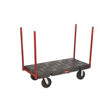 Rubbermaid Commercial Stanchion Platform Truck, 2500-lb Cap., 24 1/4w x 47 7/8d x 42 1/2h, Black