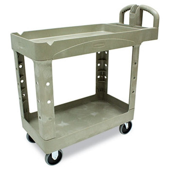 Rubbermaid Commercial Heavy-Duty Utility Cart, 2-Shelf, 17-7/8w x 39-1/4d x 33-1/4h, Beige