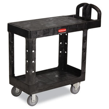 Rubbermaid Commercial Flat Shelf Utility Cart, 2-Shelf, 19-3/16w x 37-7/8d x 33-1/3h, Black