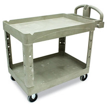 Rubbermaid Commercial Heavy-Duty Utility Cart, 2-Shelf, 25-7/8w x 45-1/4d x 33-1/4h, Beige