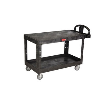 Rubbermaid Commercial Heavy-Duty Utility Cart, 500-lb Cap., 2 Shelves, 25 1/4 x 54 x 36, Black