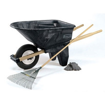 Rubbermaid Commercial Wheelbarrow, 6.5 cu ft, 200lb Cap, 27w x 60d x 27 1/2h, Plastic/Wood, Black