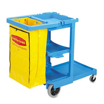 Rubbermaid Commercial Multi-Shelf Cleaning Cart, 3 Shelves, 21 3/4w x 46d x 38 3/8h, Blue