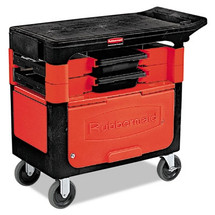 Rubbermaid Commercial Locking Trades Cart, 330-lb Cap., 2 Shelves, 19 1/4w x 38d x 33 3/8h, Black