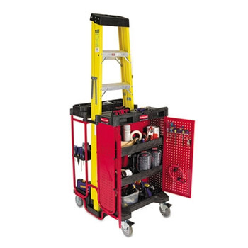 Rubbermaid Commercial Ladder Cart w/Cabinet, 3-Shelf, 27w x 31-1/2d x 42h, Black/Red