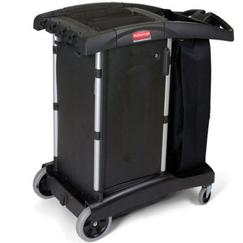 Rubbermaid Commercial Compact Turndown Housekeeping Cart, 22w x 38 1/4d x 44h, Black