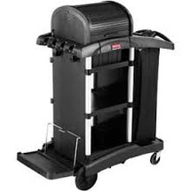 Rubbermaid Commercial Executive High Security Janitorial Cleaning Cart, Black, 23.1Wx39.6Dx27.5H