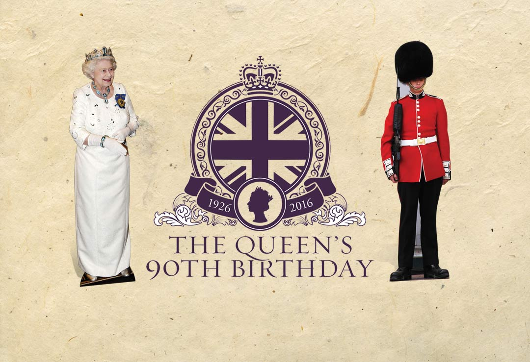 Queen Elizabeth II 90th Birthday Party Cardboard Cutouts and Masks