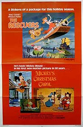 THE RESCUERS - MICKEY'S CHRISTMAS CAROL (Single Sided) ORIGINAL CINEMA POSTER